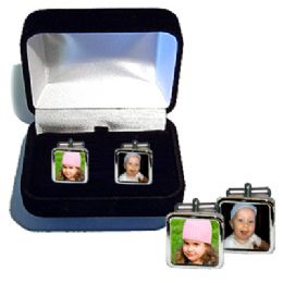 Personalised Photo Cufflinks Polished Silver, Photo Cufflinks, Cufflinks With Photos, Cuff Links